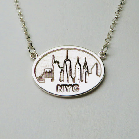 """NYC SKYLINE"" Souvenir Festoon Necklace Rhodium Plated Brass"