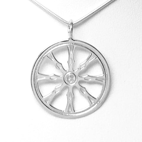 Sterling Silver Spirit Wheel Pendant Necklace 18 in. L