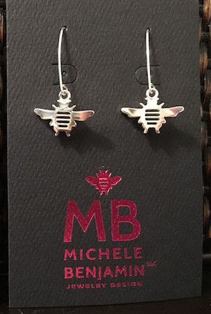 Sterling Silver Tiny Bee D Hook Dangle Earrings 1 1/2 inch L