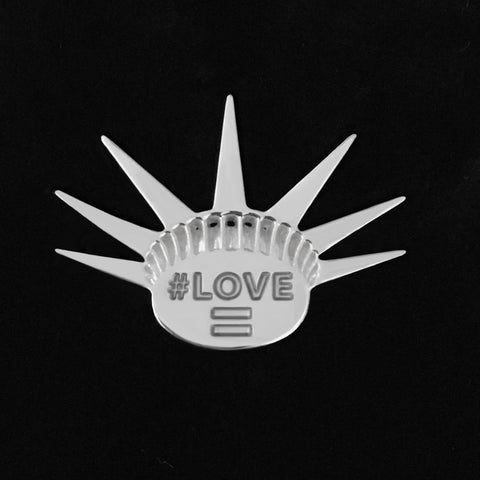 Sterling Silver LOVE Activist Lapel Pin Brooch