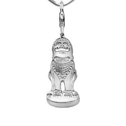 Sterling Silver Lion Dog Charm Necklace 18 in.