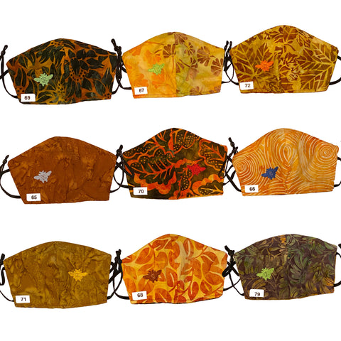 Bee Embroidery Face Masks, Reversible, Adjustible, Washable, Batik Cotton, Non-Medical