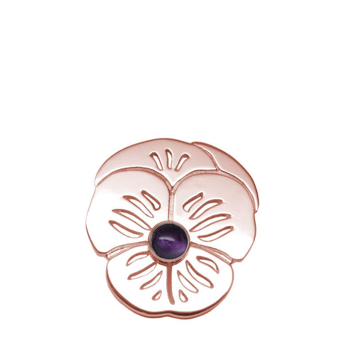 "18K Rose Gold Plated Sterling Amethyst ""Purple Pansy"" Suffragette Pin Brooch"