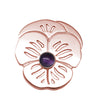 "18K Rose Gold Plated Sterling Amethyst ""Purple Pansy"" Suffragette Pin Brooch - Michele Benjamin - Jewelry Design"