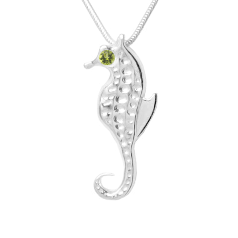 Sterling Silver Seahorse 4mm Peridot Pendant Necklace 18in. L