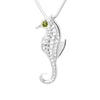 Sterling Silver Seahorse 4mm Peridot Pendant Necklace 18in. L - Michele Benjamin - Jewelry Design