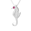 Sterling Silver Seahorse 3mm Ruby Pendant Necklace 18 in. L - Michele Benjamin - Jewelry Design
