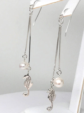 Sterling Silver Seahorse Pearl Dangle Earrings 3 inch L