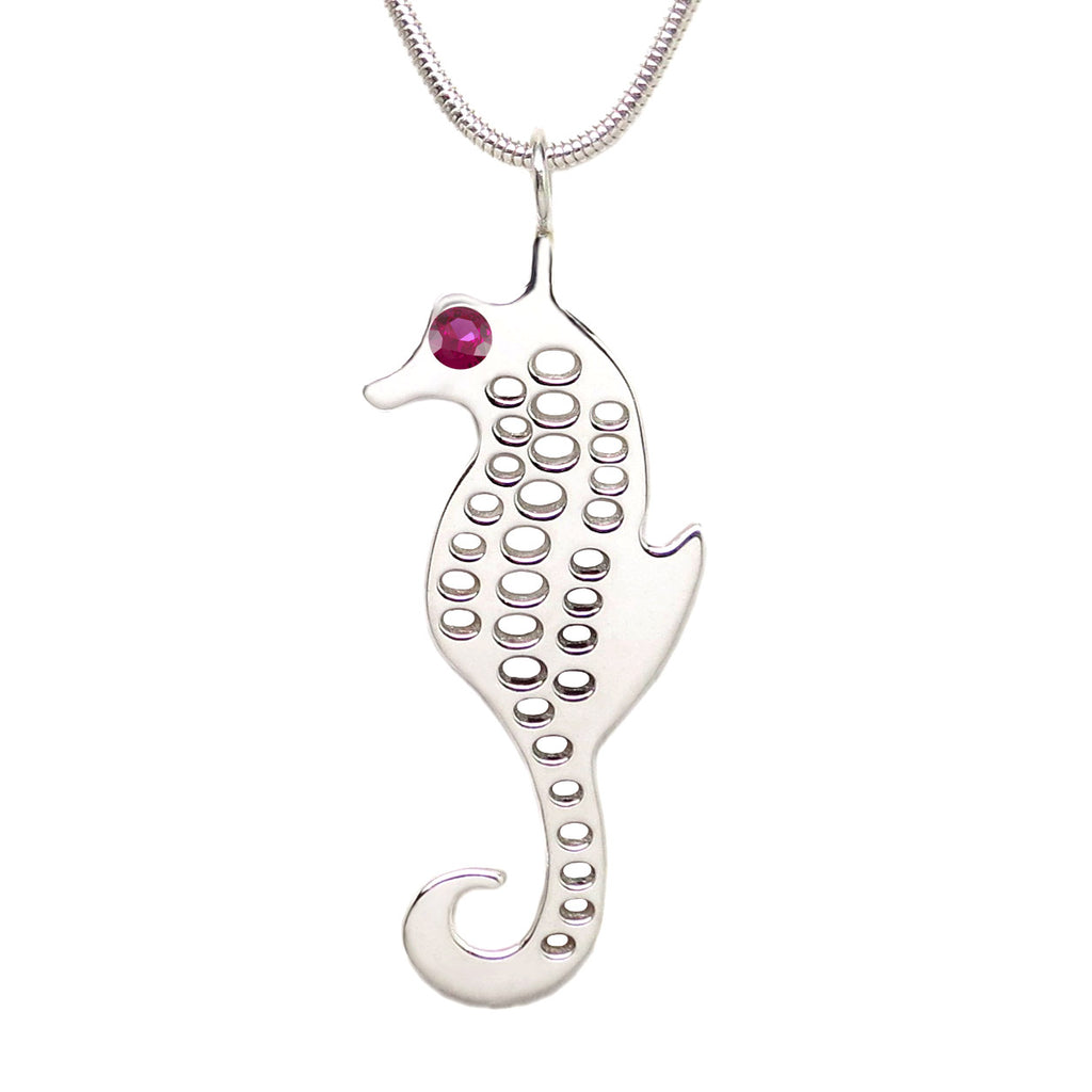Sterling Silver Seahorse 3mm Ruby Pendant Necklace - Michele Benjamin - Jewelry Design