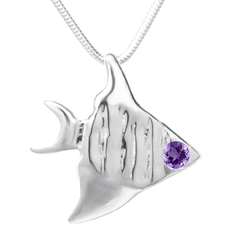 Sterling Silver Amethyst Angelfish Pendant Necklace 18 in. L