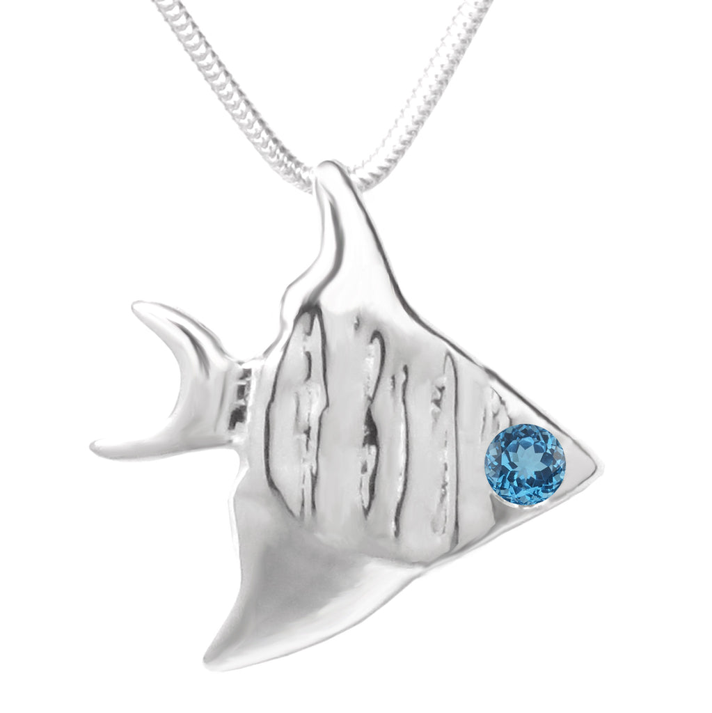 Sterling Silver London Blue Topaz Angelfish Pendant Necklace - Michele Benjamin - Jewelry Design