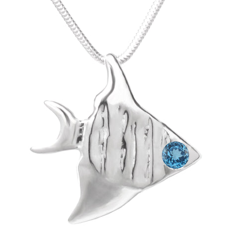 Sterling Silver London Blue Topaz Angelfish Pendant Necklace