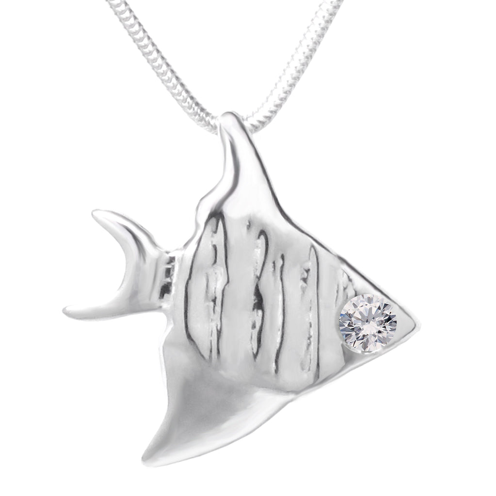 Sterling Silver Swarovski Gemstones™ CZ Angelfish Pendant Necklace - Michele Benjamin - Jewelry Design