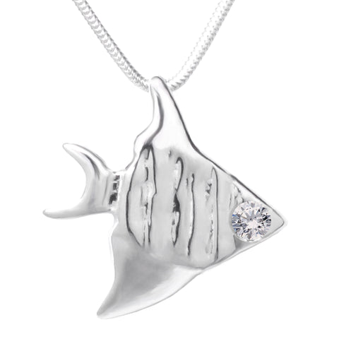 Sterling Silver Swarovski Gemstones™ CZ Angelfish Pendant Necklace