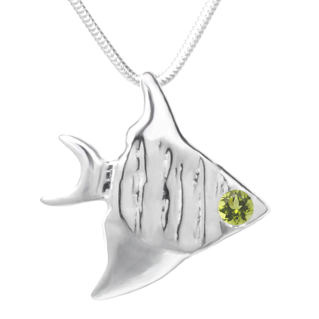 Sterling Silver Peridot Angelfish Pendant Necklace 18 in. L - Michele Benjamin - Jewelry Design