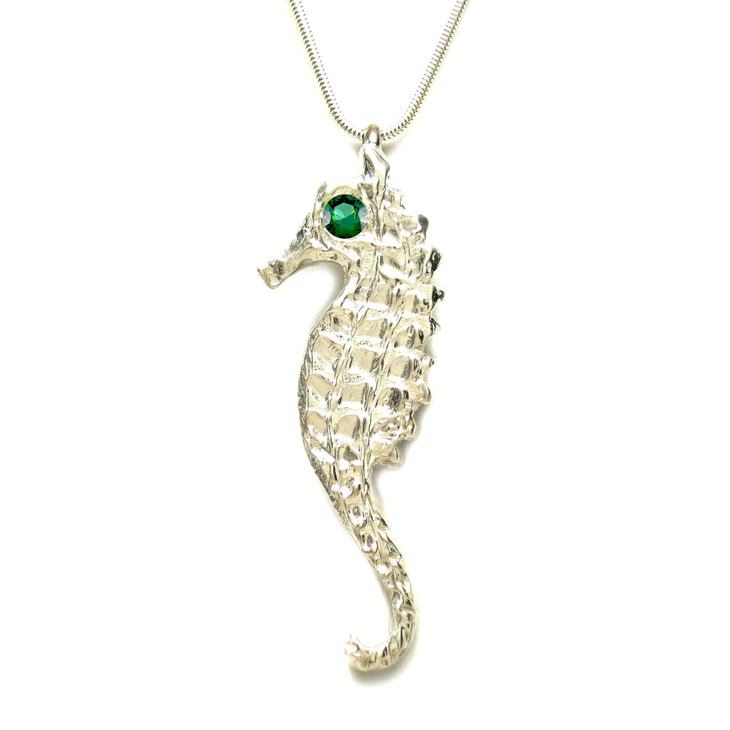 Sterling Silver Emerald Large Seahorse Pendant Necklace - Large - Michele Benjamin - Jewelry Design