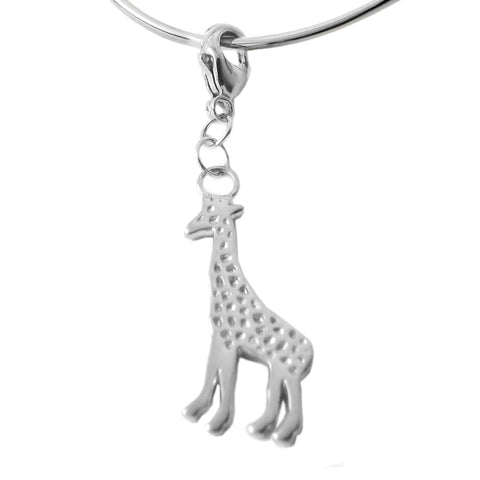 Sterling Silver Giraffe Charm Necklace, 18 inch L.