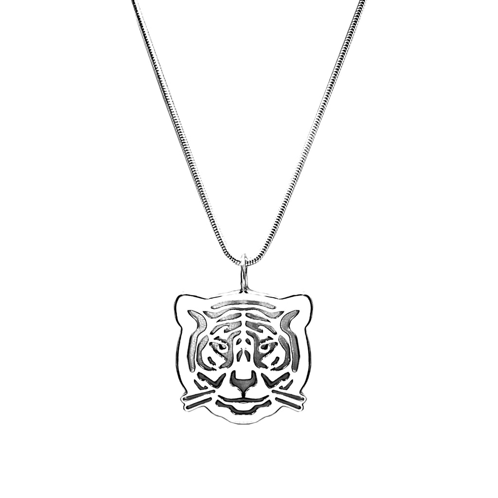 Sterling Silver Tiger Pendant Necklace 18 in. L - Michele Benjamin - Jewelry Design