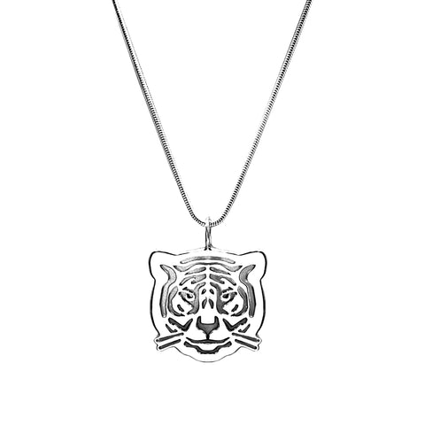 Sterling Silver Tiger Pendant Necklace 18 in. L