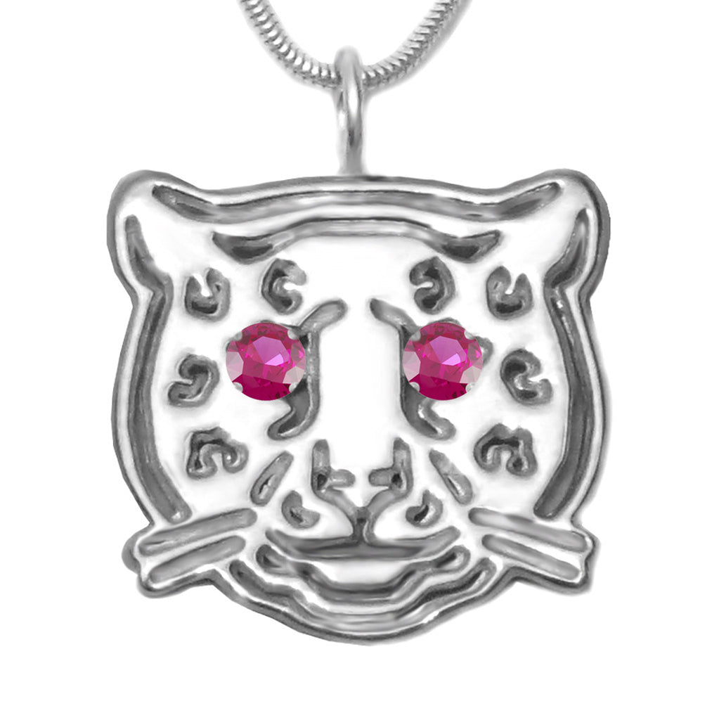 Sterling Silver Ruby Leopard Pendant Necklace [Created] - Michele Benjamin - Jewelry Design