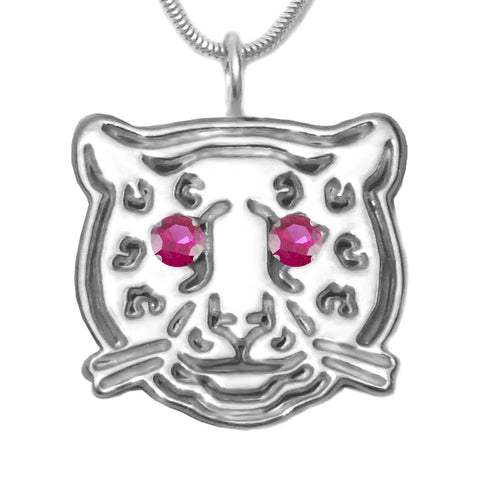 Sterling Silver Ruby Leopard Pendant Necklace [Created]