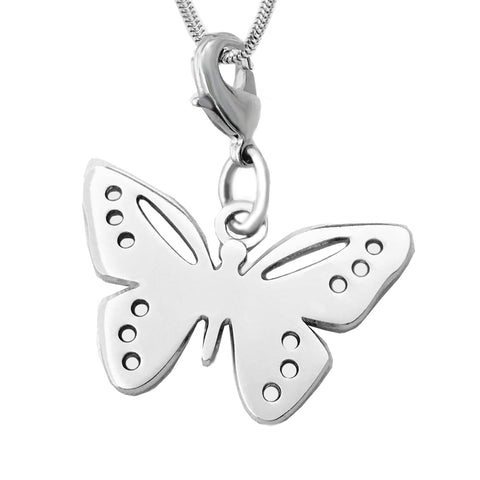 Butterfly Charm Rhodium Plated White Brass