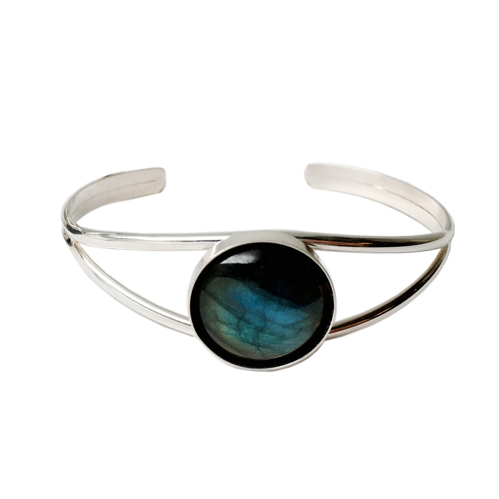 Sterling Silver Labradorite Cuff Bracelet - One Size Fits All - Michele Benjamin - Jewelry Design