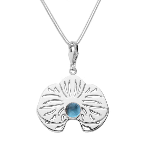 Sterling Silver Blue Topaz Orchid Charm Necklace 18 in. L