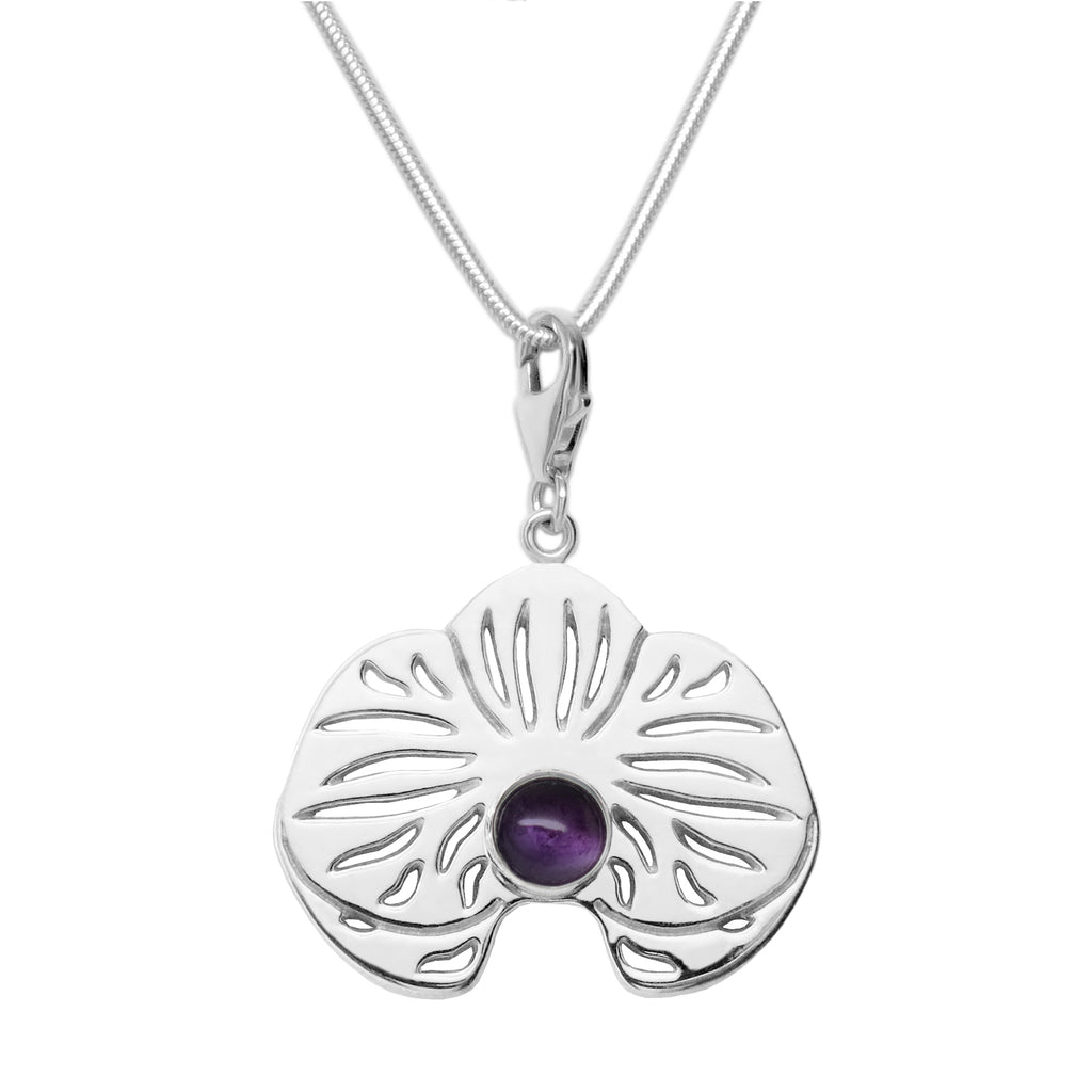Sterling Silver Amethyst Orchid Charm Necklace - Michele Benjamin - Jewelry Design