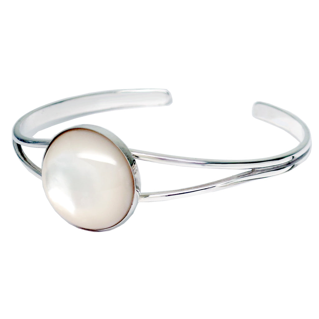 Sterling Silver Mother of Pearl Wide Cuff Bracelet - Michele Benjamin - Jewelry Design