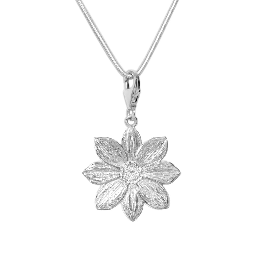 Sterling Silver Mystic Illusion Dahlia Charm Necklace - Michele Benjamin - Jewelry Design