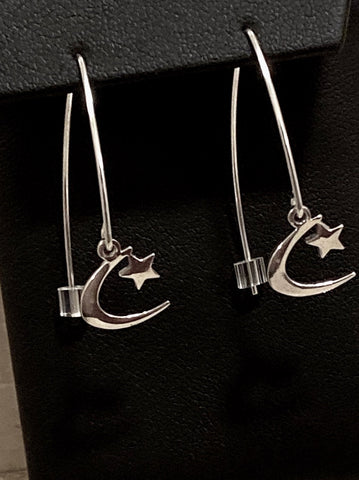 "Sterling Silver Tiny ""Crescent Star"" D Hook Dangle Earrings 1 1/2 inch L"