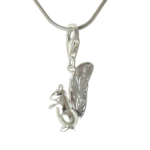 Sterling Silver Squirrel 3D Charm Necklace