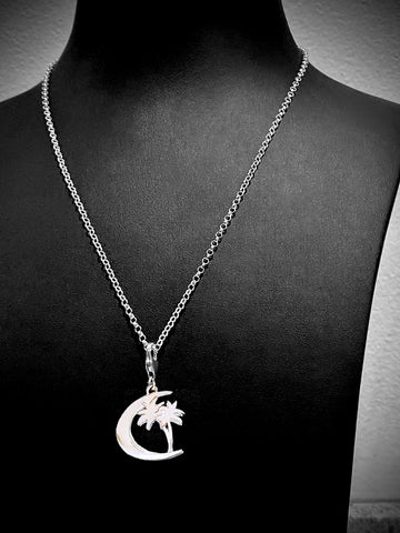 "Sterling Silver ""Crescent Star with Palm Tree"" Charm Necklace Dubai Collection"