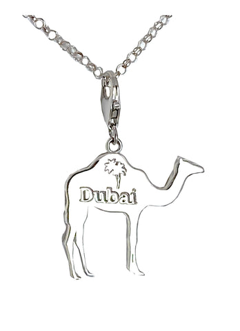 Small Dubai Camel with Palm Tree Charm Necklace - Left Side