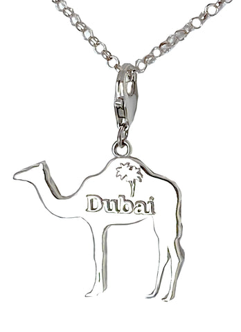 Large Dubai Camel with Palm Tree Charm Necklace -Rhodium Plated