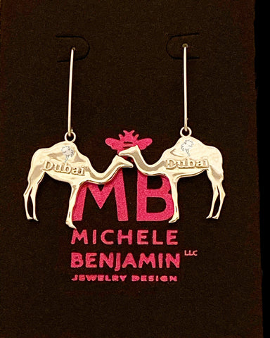 Dubai Camels with Palm Trees Dangle Earrings 1 1/2 inch L