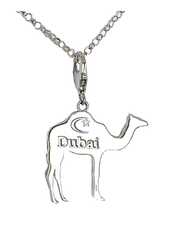 Small Dubai Camel with Crescent Star Charm Necklace - Left Side