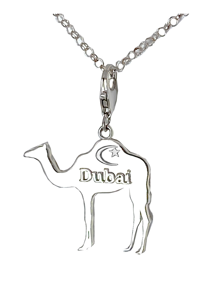 Small Dubai Camel with Crescent Star Charm Necklace - Right Side