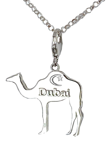 Sterling Silver Large Dubai Camel with Crescent Star Charm Necklace
