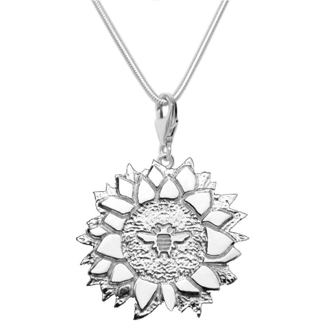Sterling Silver Bee with Sunflower Charm Necklace 18 in.