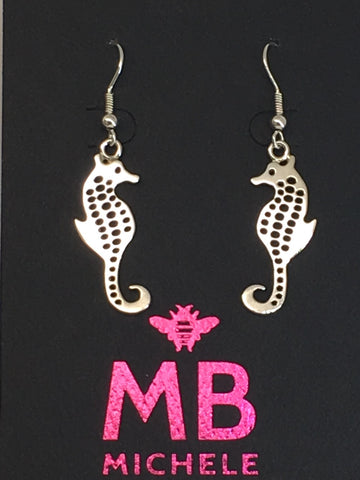 Sterling Silver Seahorse Dangle Earrings 2 inch L