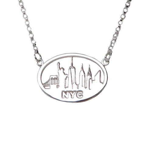 "Sterling Silver ""NYC SKYLINE"" Festoon Statement Necklace"
