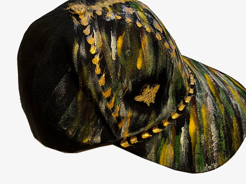 Original Hand Painted, Gold Bee Embroidered - Black Baseball Cap - One Size Fits All