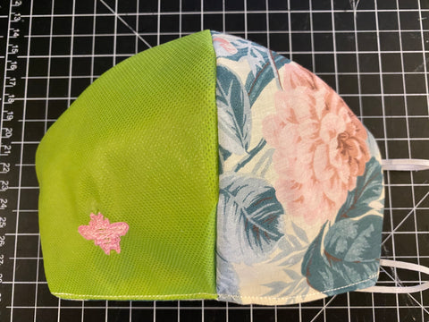 Designer Bee Masks - Light Green / Floral / Pink Bee Embroidery / Non-Medical