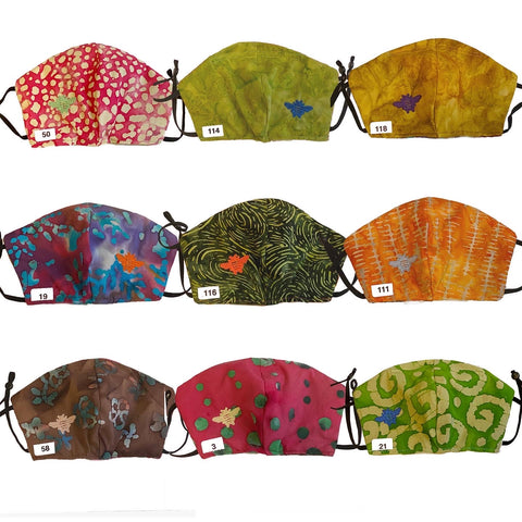 Bee Masks - Set 2:  Embroidered, Reversible, Adjustible, Washable, Non-Medical