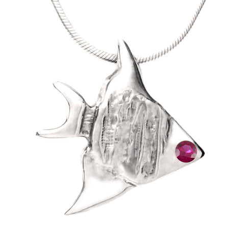 Sterling Silver Ruby Angelfish Pendant Necklace