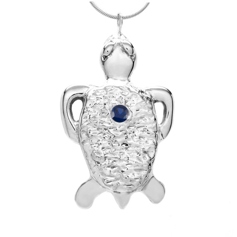 Sterling Silver Blue Sapphire Tortoise Pendant Necklace 18 Inch