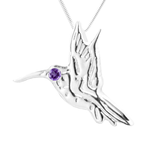 Sterling Silver Amethyst Hummingbird Pendant Necklace 18L
