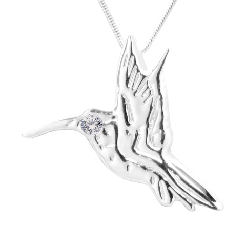 Sterling Silver Swarovski Gemstones™ CZ Hummingbird Necklace